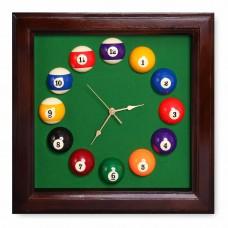 Часы КВАДРАТ-ПУЛ коричневые 44х44см