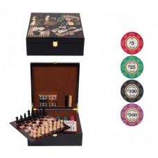 Набор игр LUX в деревянном кейсе (керамические фишки)