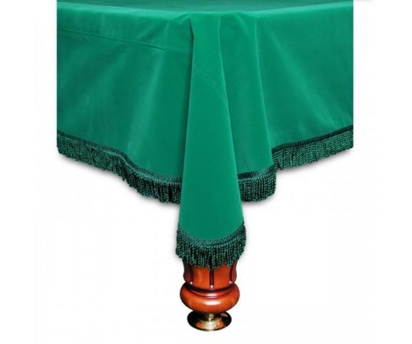 Покрывало Честер 9 футов вельвет зеленое/зеленая бахрома